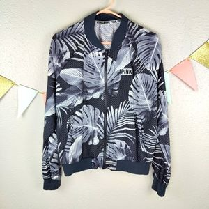 PINK Perforated Palm Print Light Bomber Jacket